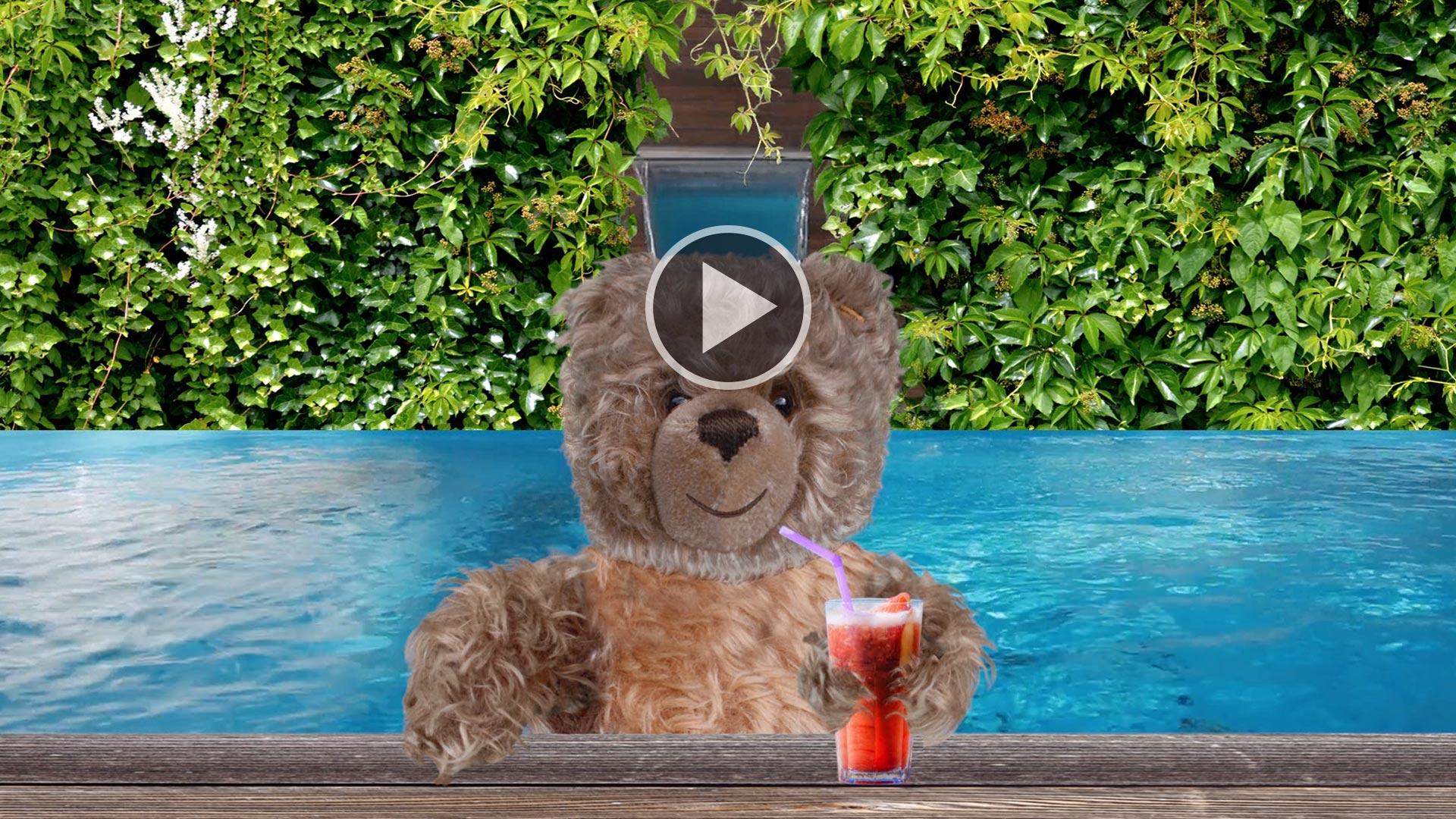 Teddybaer-König Opa I. im Pool
