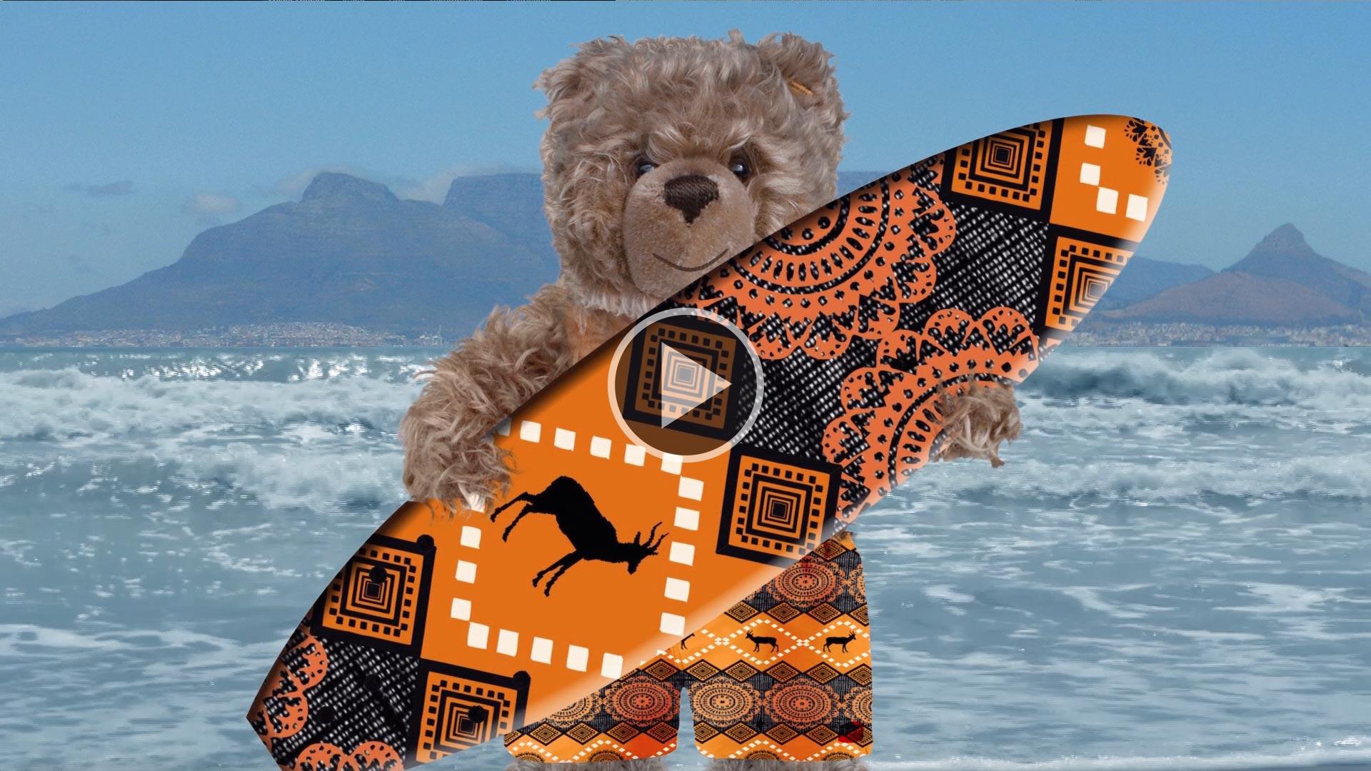 König Opa beim Surfen in Südafrika