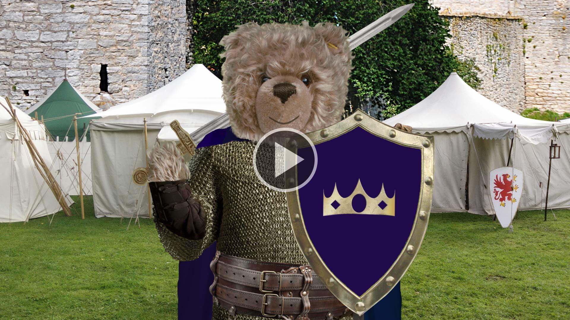 Teddybär-König Opa bei der Mittelalterwoche in Visby