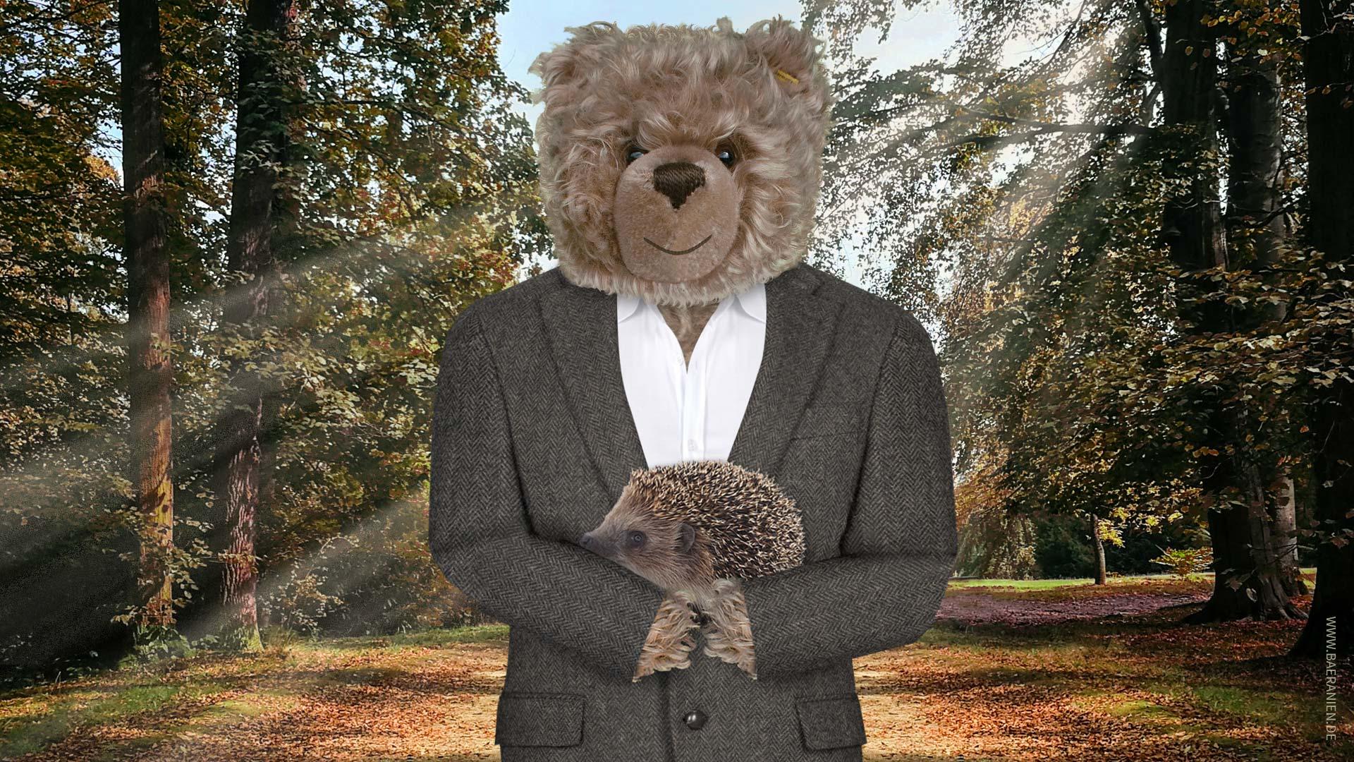 Teddy-König Opa und die Station für Igel