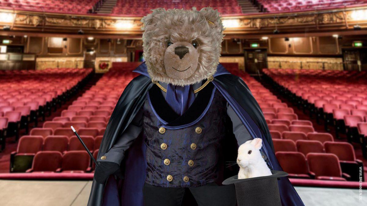 Teddy-König Opa als Magier