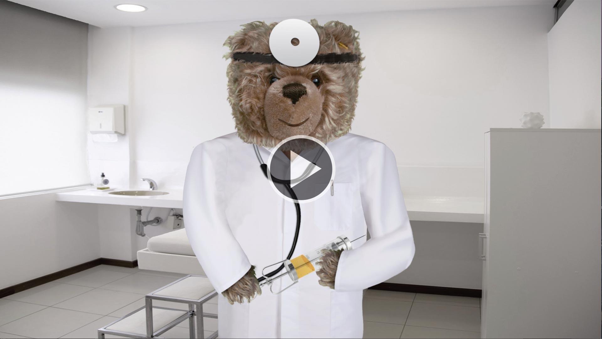 Teddy-König Opa und die Grippeimpfung