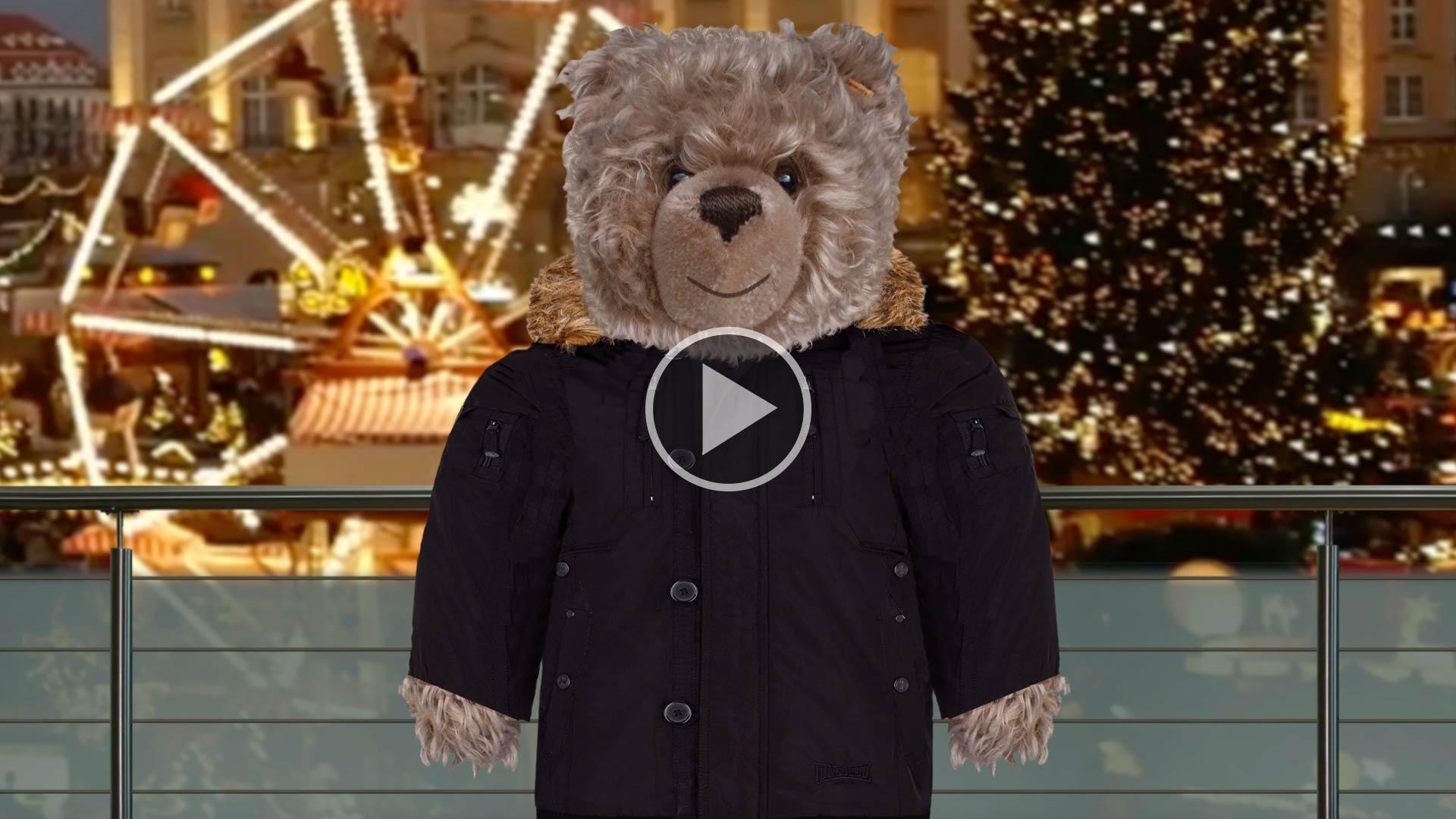 Teddy-König Opa beim Weihnachtsshopping