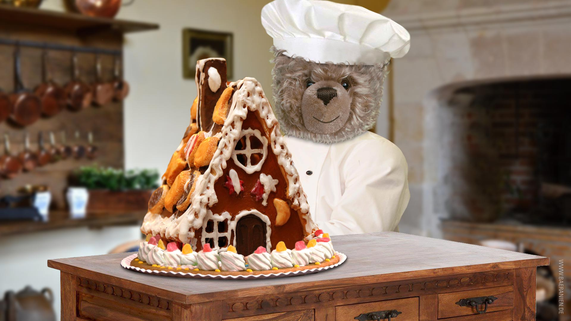 Teddy-König Opa feiert Lebkuchenhaus-Tag